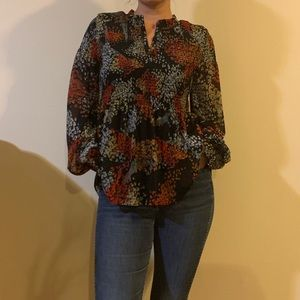 Colorful flowy fall Anthropologie top